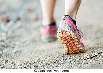 步行, 運動, 跑, 腿, 鞋子, 或者