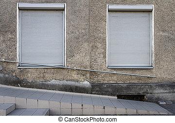 步驟, 牆, 灰色, windows, 老