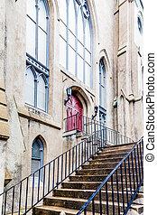步驟, 門, 向上, 紅色, 教堂