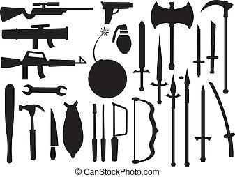 武器, イラスト, 別, ベクトル, 道具