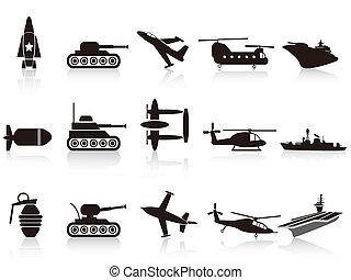 武器, セット, 黒, 戦争, アイコン