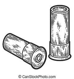武器, 彫版, cartridges., 黒, 白, かきなさい, 手, image., 引かれる, 2, ...