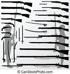 武器, 銃, 古い, 探求, 型, knifes, 剣, 兵士, 戦争, ライフル銃, 刃
