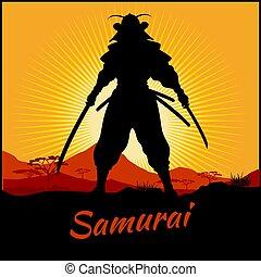 武士劍, katana, 黑色半面畫像, 戰士, 二