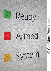 武装させられた, 家 保証, 警報システム, パネル, マクロ, クローズアップ, 緑, 赤, 黄色, 準備ができた, セット, シグナル, ライト