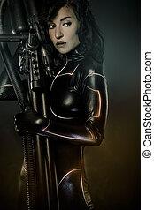 武装させられた, 未来, 女性, 概念, 黒, ラテックス, ∥で∥, ネオンライト
