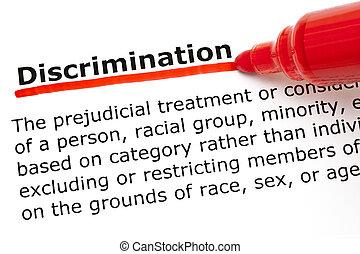 歧視, underlined, 由于, 紅色, 記號