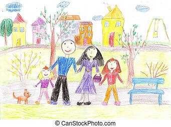 歩きなさい, 図画, 家族, 子供