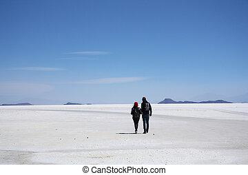 歩きなさい, 砂漠, 塩, 観光客