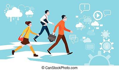 歩くこと, グループ, ビジネス 人々, 抽象的, 背景, 偶然