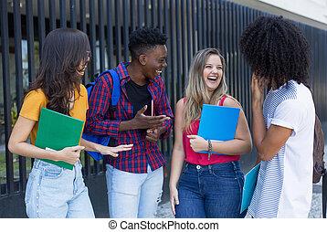 歩くこと, グループ, 生徒, 大学, インターナショナル, 幸せ