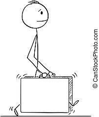 歩くこと, スーツケース, 大きい, 2, ∥あるいは∥, ビジネスマン, 漫画, 人