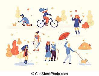 歩くこと, セット, 人々, bulldog., 水たまり, 秋, 楽しみ, 偶然, 森林, 乗馬, 女性, 傘, 男性, 公園, 跳躍, 秋, 人, 犬, 自転車, 葉, ベクトル, 遊び, 持つこと