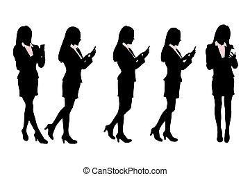 歩くこと, ビジネス, モビール, 男性, 電話, シルエット, 話すこと