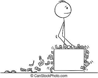 歩くこと, フルである, スーツケース, お金, 2, ∥あるいは∥, 大きい, ビジネスマン, 漫画, 人