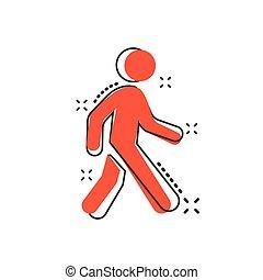 歩くこと, ベクトル, ビジネス 人々, concept., 効果, イラスト, 印, 歩行者, はね返し, pictogram., アイコン, 漫画, 歩きなさい, style., 漫画, 人