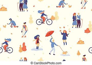 歩くこと, ベクトル, 傘, 人々, パターン, bulldog., 公園, seamless, 自転車, 水たまり, 秋, 犬, 跳躍, 持つこと, 森林, 乗馬, 楽しみ, 秋休暇, 遊び, 偶然