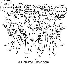 歩くこと, ベクトル, 群集, 人々, 移動式 電話, オンラインで, 漫画, 通り, 社会, 使うこと, ネットワーク