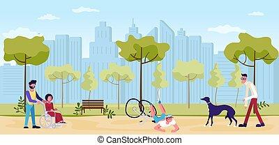 歩くこと, 人々, 公園, 夏
