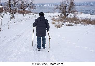 歩くこと, 人, 道, 成長した, 雪が多い