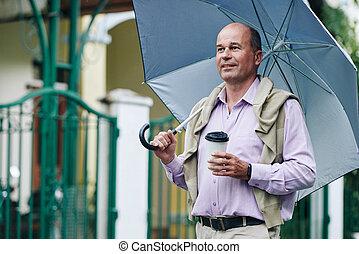 歩くこと, 人, 雨の日