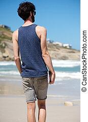 歩くこと, 休暇, 本, 単独で, 浜, 人