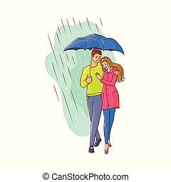歩くこと, 傘, 恋人, 雨, ベクトル, 下に, 漫画