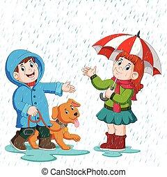 歩くこと, 傘, 恋人, 雨, 下に