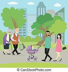 歩くこと, 公園, 人々