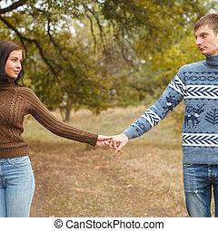 歩くこと, 公園, 屋外のカップル