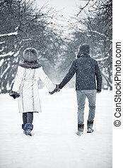 歩くこと, 公園, 恋人, 若い