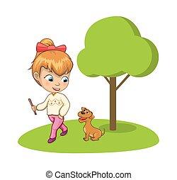 歩くこと, 公園, 若い, 犬, ベクトル, 女の子, 愛らしい