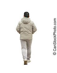 歩くこと, 写真, 隔離された, 背中, 成人, 人, 光景