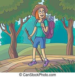 歩くこと, 女性ハイキング, 失われた, 若い, girl., 旅行する, ∥あるいは∥