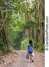 歩くこと, 女, ジャングル