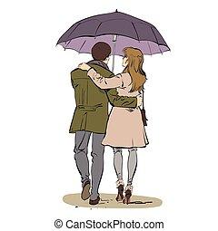 歩くこと, 女, 傘, 恋人, 背中, 下に, 人