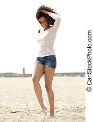 歩くこと, 女, 浜