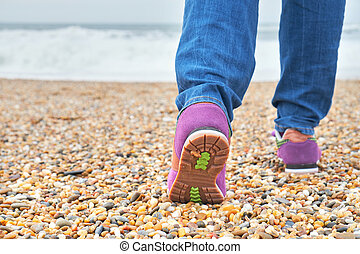 歩くこと, 女, 浜。