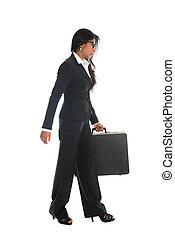 歩くこと, 女, indian, ビジネス, 隔離された, 長さ, フルである, アジア人, 背景, スーツケース, 白
