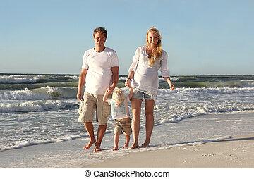 歩くこと, 家族, 人々, 3, 海洋, 前方へ, 浜, 幸せ