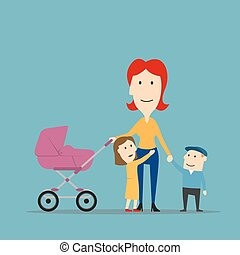 歩くこと, 屋外, 子供, 母, 楽しみ, 持つこと