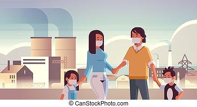 歩くこと, 屋外, 家族, 概念, 肖像画, 空気, 子供, 汚される, 環境, 親, 有毒, スモッグ, 身に着けていること, 植物, ガスマスク, 背景, 横, 産業, 顔, パイプ, 汚い, 煙, 汚染