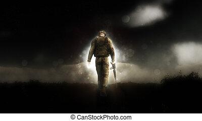 歩くこと, 彼の, イメージ, 頭ダウン, 兵士, 劇的, 3d