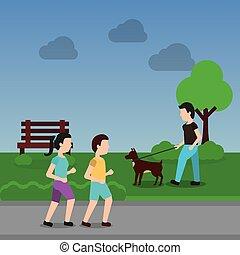 歩くこと, 恋人, 公園, 現場, 犬, 人