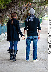 歩くこと, 恋人, 公園, 若い, 手を持つ