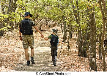 歩くこと, 森林, 息子, 父