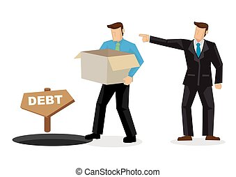 歩くこと, 概念, employment., 彼の, 後で, 退けられた, 上司, レイオフ, lossing, 従業員, job., 穴, 負債