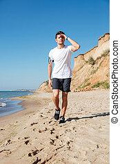 歩くこと, 浜, 前方へ, スポーツマン