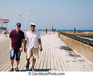 歩くこと, 父, 一緒に, 息子, 成人, 海