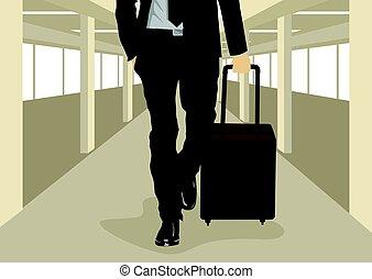 歩くこと, 空港, の上, ビジネスマン, 間, 届く, スーツケース, 終わり, インターナショナル